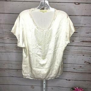 ❄️Gianni Bini Short Sleeve Silk Blouse